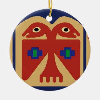 Peruvian Two-Headed Tribal Bird Ceramic Ornament