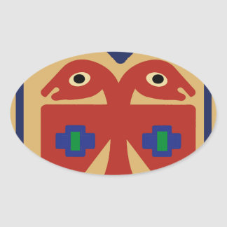 Peruvian Two-Headed Tribal Bird Oval Sticker