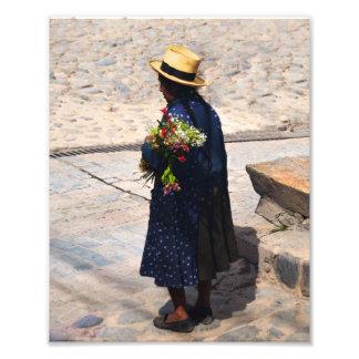 Peruvian Woman Holding Flowers Photo Print