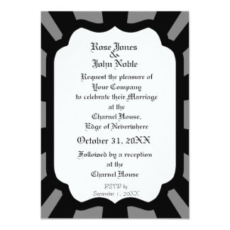 Pervade Ivory VII (Black) Wedding Invitation