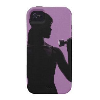 pesa de gimnasia de elevación del chica en fondo p Case-Mate iPhone 4 funda
