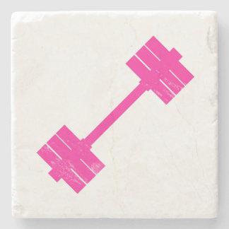 Pesa de gimnasia rosada/Barbell Posavasos De Piedra