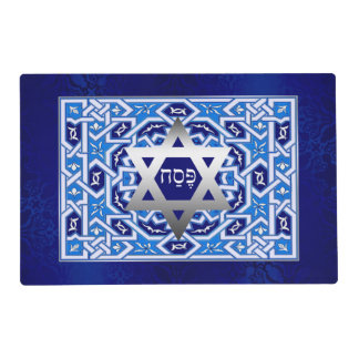 """Pesach"" Hebrew Text Passover Seder Placemats Laminated Place Mat"