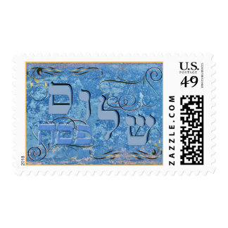 Pesach Shalom en letras hebreas azules Sellos
