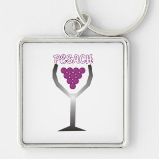 Pesach Whine Silver-Colored Square Keychain