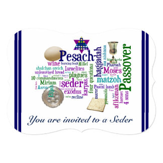 Pesach Words and Symbols Card/Invitation Card