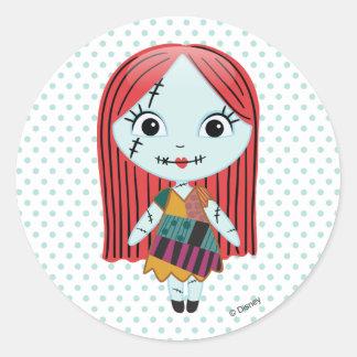 Pesadilla antes del navidad el   Sally Emoji Pegatina Redonda