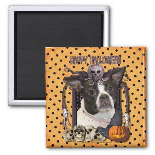 Pesadilla de Halloween - Boston y rata Terrier - J Imán Cuadrado