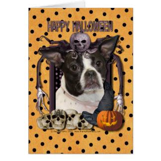 Pesadilla de Halloween - Boston y rata Terrier - Tarjeta De Felicitación
