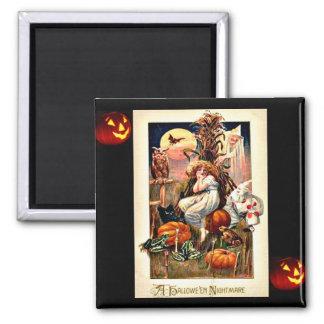 Pesadilla de Halloween del vintage Imán De Frigorífico