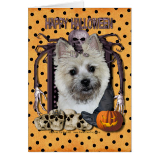 Pesadilla de Halloween - mojón Terrier - oso de Tarjeta Pequeña