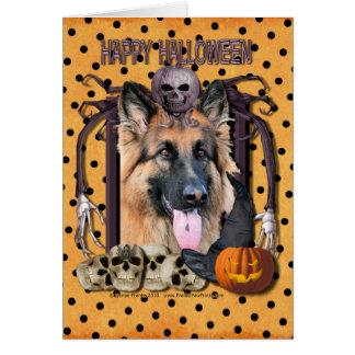 Pesadilla de Halloween - pastor alemán - ocasión Tarjeta Pequeña