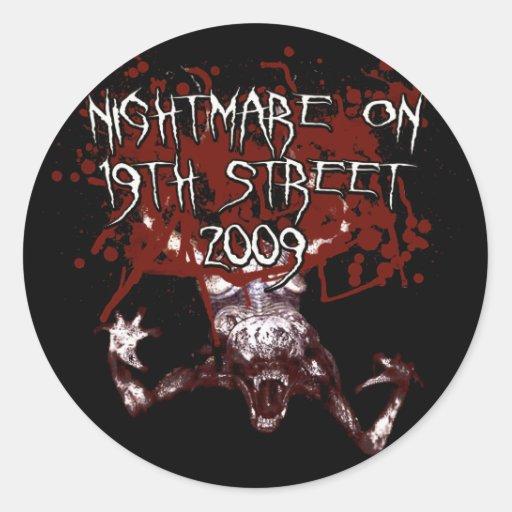 Pesadilla en la diecinueveavo calle 2009 pegatina redonda