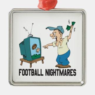 Pesadillas del fútbol adorno navideño cuadrado de metal