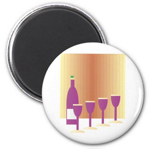 Pesah cuatro tazas de vino imán redondo 5 cm