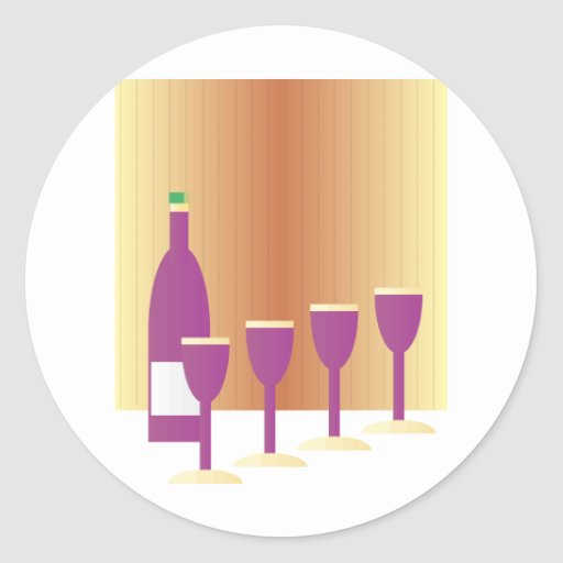 Pesah cuatro tazas de vino pegatina redonda