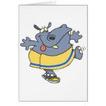 pesaje en hipopótamo divertido en un dibujo animad tarjeton