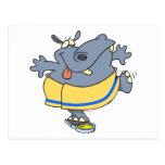 pesaje en hipopótamo divertido en un dibujo animad postal
