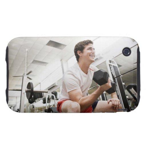 Pesas de gimnasia de elevación del hombre iPhone 3 tough carcasas