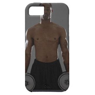 Pesas de gimnasia de elevación físicamente cabidas iPhone 5 cobertura