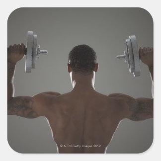 Pesas de gimnasia de elevación físicamente cabidas pegatinas cuadradases