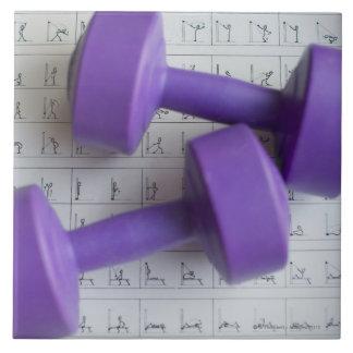 Pesas de gimnasia púrpuras azulejo cuadrado grande
