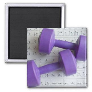 Pesas de gimnasia púrpuras imán de frigorífico