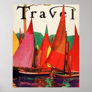 Pesca antigua de la revista del viaje de Italia de Poster