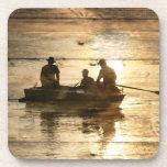 Pesca canoeing del vintage del país rústico de la  posavasos