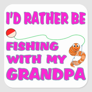 Pesca con el abuelo (en rosa) pegatina cuadrada