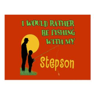 Pesca con el hijastro tarjeta postal