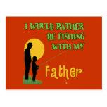 Pesca con el padre postal