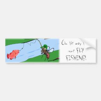 Pesca con mosca etiqueta de parachoque