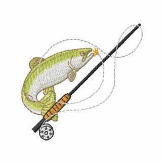 Pesca con mosca sudadera bordada con capucha