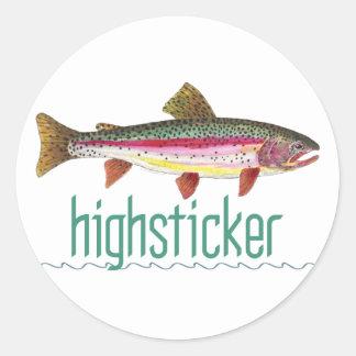 Pesca con mosca de Highsticker Etiquetas Redondas