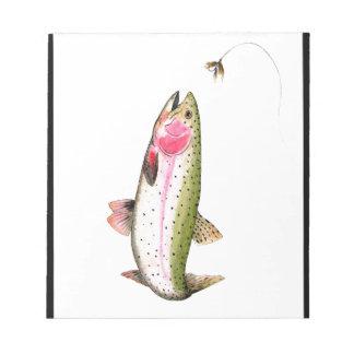 Pesca con mosca de la trucha arco iris bloc de notas
