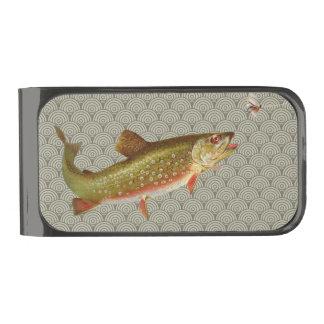 Pesca con mosca de la trucha arco iris del vintage clip para billetes metalizado