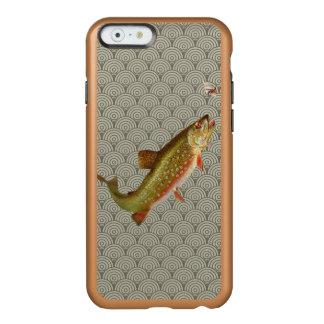 Pesca con mosca de la trucha arco iris del vintage funda para iPhone 6 plus incipio feather shine