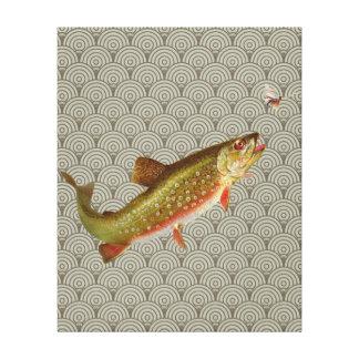 Pesca con mosca de la trucha arco iris del vintage lona envuelta para galerias