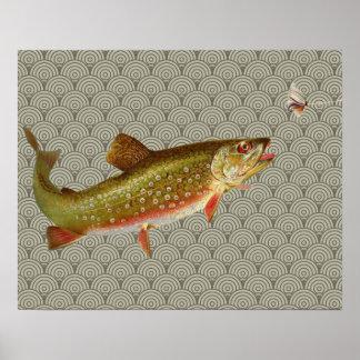 Pesca con mosca de la trucha arco iris del vintage póster