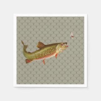 Pesca con mosca de la trucha arco iris del vintage servilleta desechable