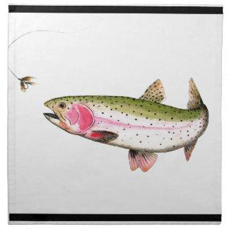 Pesca con mosca de la trucha arco iris servilleta de papel