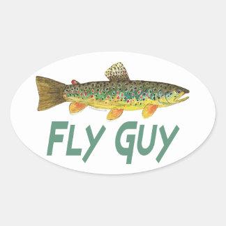 Pesca con mosca de la trucha calcomanías de ovales