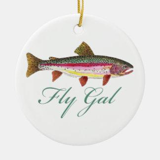 Pesca con mosca de la trucha adorno de navidad