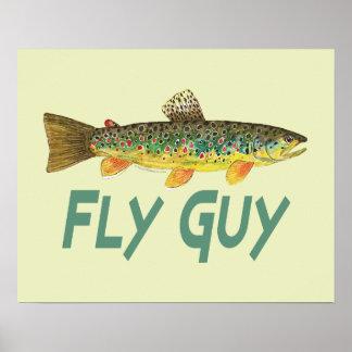 Pesca con mosca de la trucha poster