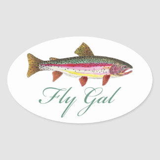 Pesca con mosca de la trucha pegatina ovalada