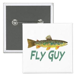 Pesca con mosca de la trucha pin cuadrado