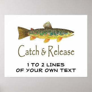 Pesca con mosca de la trucha póster