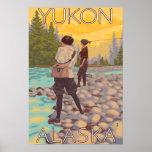Pesca con mosca de las mujeres - el Yukón, Alaska Poster