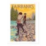 Pesca con mosca de las mujeres - Fairbanks, Alaska Tarjeta Postal